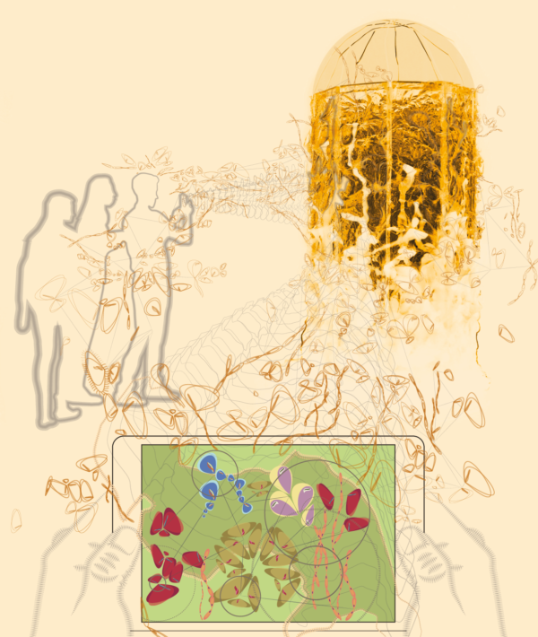 Artist impression of people using augmented reality by an amber tower